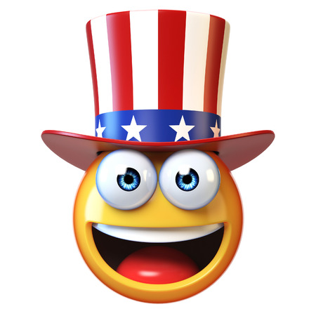 Emoji with American hat, Uncle Sam emoticon 3d rendering