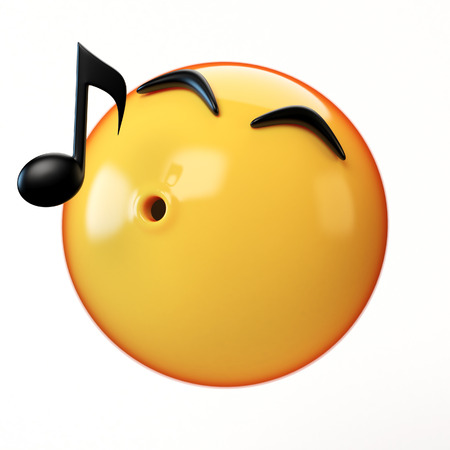 Whistling emoji isolated on white background, music emoticon 3d rendering