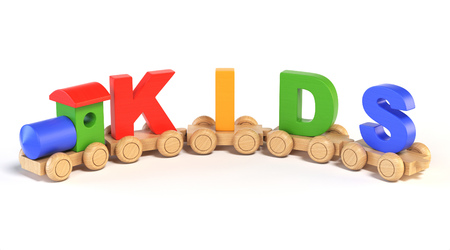 Wooden toy train with KIDS letters as railroad cars 3d rendering