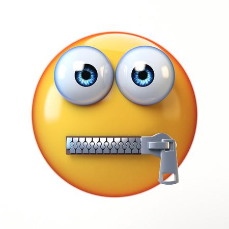 Gesnapte die mondemoji op witte achtergrond, lippen het verzegelde emoticon 3d teruggeven wordt geïsoleerd