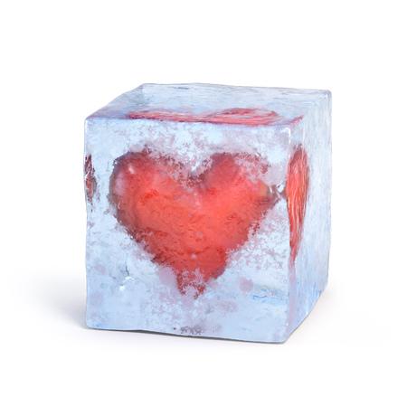 Heart frozen inside ice cube 3d rendering 스톡 콘텐츠