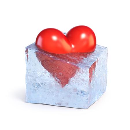 Heart frozen inside ice cube 3d rendering Stock Photo