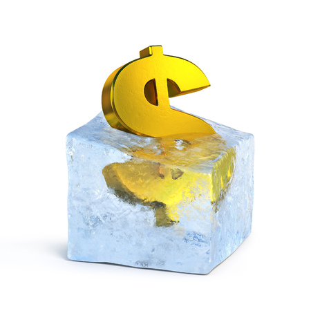 Golden dolar symbol frozen in the ice block 3d rendering Stock Photo