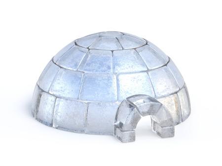 Iglo gemaakt van ijsblokken die op het witte 3d teruggeven worden geïsoleerd als achtergrond