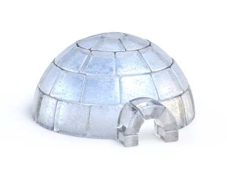Igloo made of ice blocks isolated on the white background 3d rendering