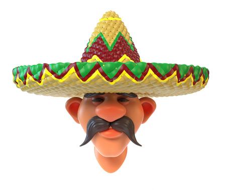 Mexican with sombrero 3d rendering Stock Photo