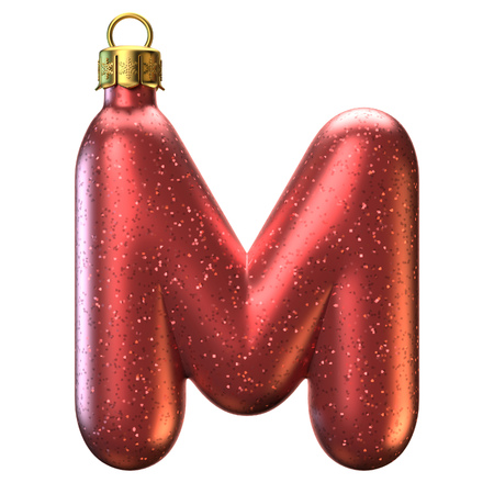 Christmas tree decoration font, letter M