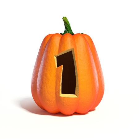 Halloween pumpkin font number 1 3d rendering