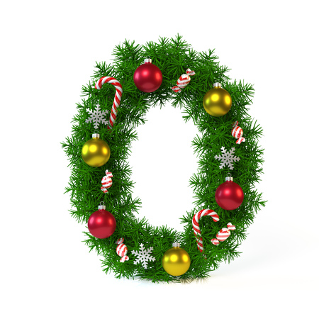 Christmas font isolated on white, number 0 , 3d rendering