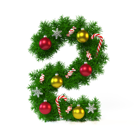 Christmas font isolated on white, number 2,  3d rendering Stock Photo