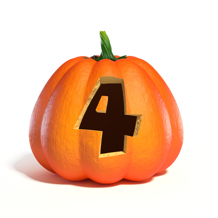 Halloween pumpkin font number 4 3d rendering