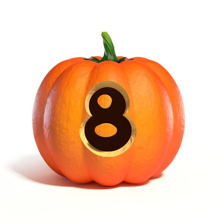 Halloween pumpkin font number 8 3d rendering