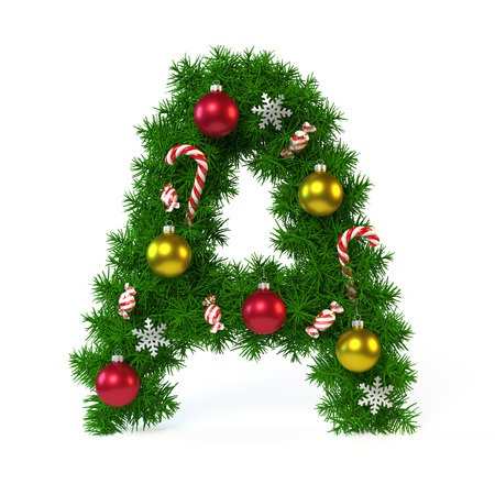 Christmas font isolated on white, letter A, 3d rendering Stock Photo
