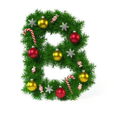 alphabet tree: Christmas font isolated on white, letter B, 3d rendering
