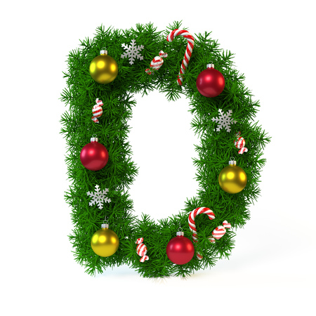Christmas font isolated on white, letter D, 3d rendering
