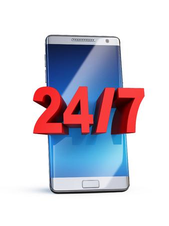 24-7 concept, 3d letters on smart phone, 3d rendering
