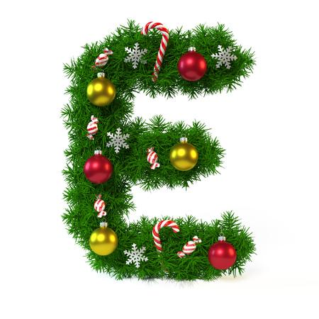 クリスマス フォントが白、文字 E、3 d レンダリングで隔離