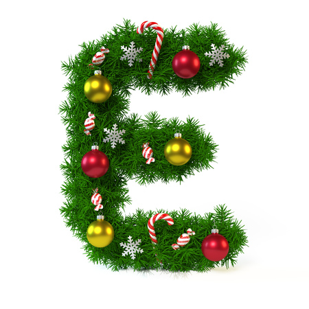 Christmas font isolated on white, letter E, 3d rendering Stok Fotoğraf