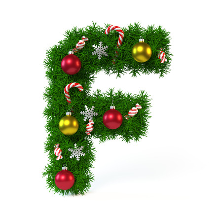 Christmas font isolated on white, letter F 3d rendering