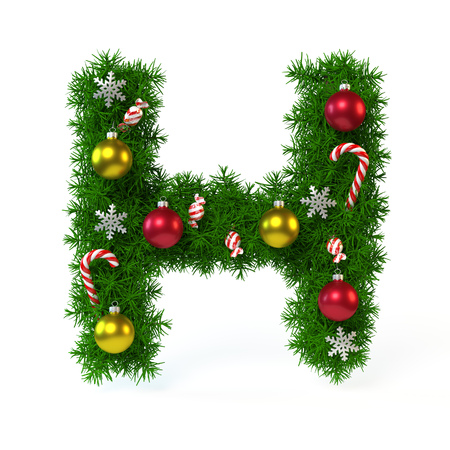 Christmas font isolated on white, letter H, 3d rendering