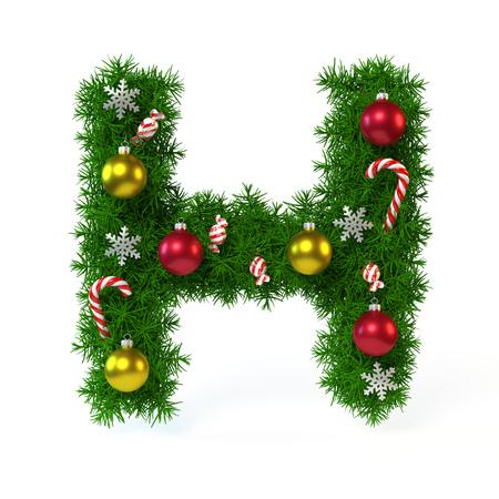 Fuente de Navidad aislada en blanco, letra H, representación 3D