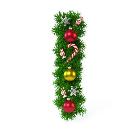 Christmas font isolated on white, letter I, 3d rendering