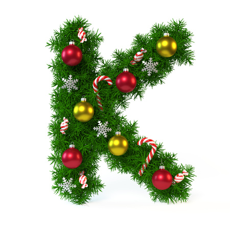Christmas font isolated on white, letter K, 3d rendering
