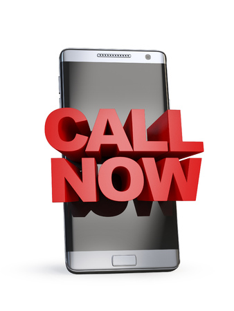 Call now concept, 3d letters on smart phone, 3d rendering Stock Photo