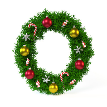 Christmas font isolated on white, letter O, 3d rendering Stok Fotoğraf