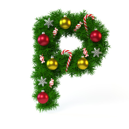 Christmas font isolated on white, letter P, 3d rendering