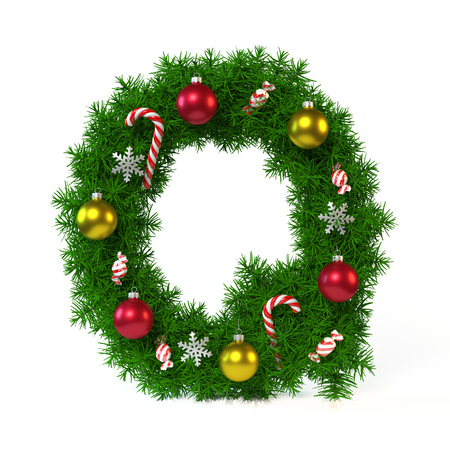 Christmas font isolated on white, letter Q, 3d rendering Stock Photo