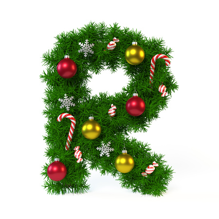 Kerstmisdoopvont op wit, brief R, het 3d teruggeven wordt geïsoleerd die