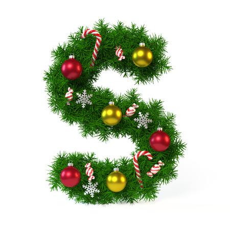 Polices de Noël isolé sur blanc, lettre S, rendu 3d