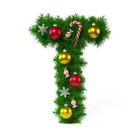 Christmas font isolated on white, letter T, 3d rendering