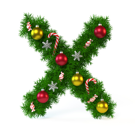 alphabet tree: Christmas font isolated on white, letter X, 3d rendering Stock Photo