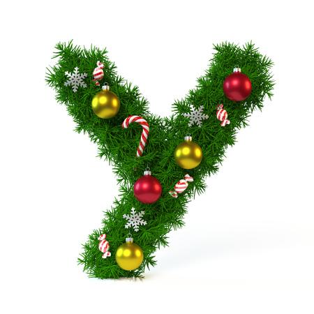 クリスマス フォントが白、文字 Y、3 d レンダリングで隔離