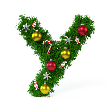 Christmas font isolated on white, letter Y, 3d rendering Stock Photo