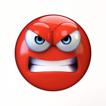 Verärgertes emoji lokalisiert auf weißem Hintergrund, boshafte Wiedergabe des Emoticon 3d