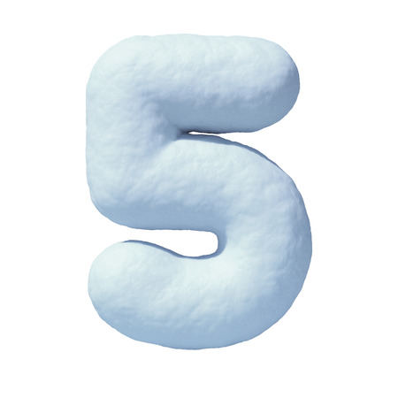 Snow font number 5,  3d rendering Stock Photo