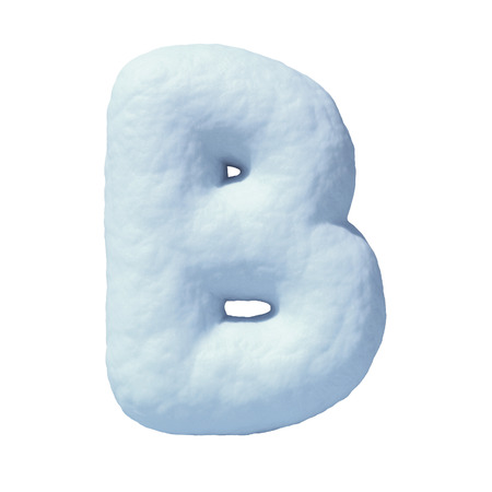Snow font letter B 3d rendering Stock Photo