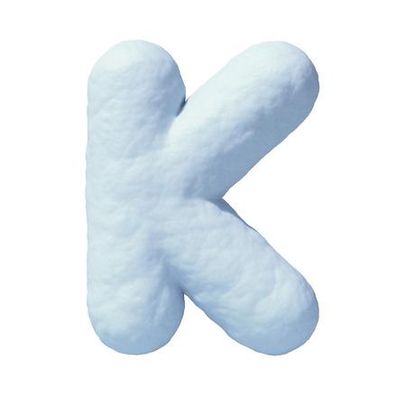 Snow font letter K 3d rendering
