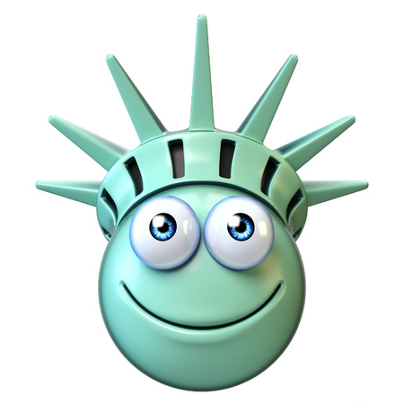 Statue of liberty emoji, cartoon emoticon 3d rendering