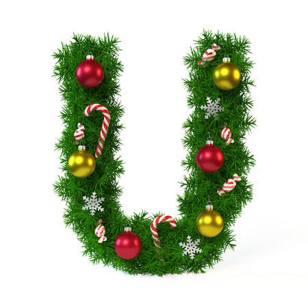 Christmas font isolated on white, letter U, 3d rendering
