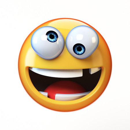 Crazy emoji isolated on white background, silly face emoticon 3d rendering