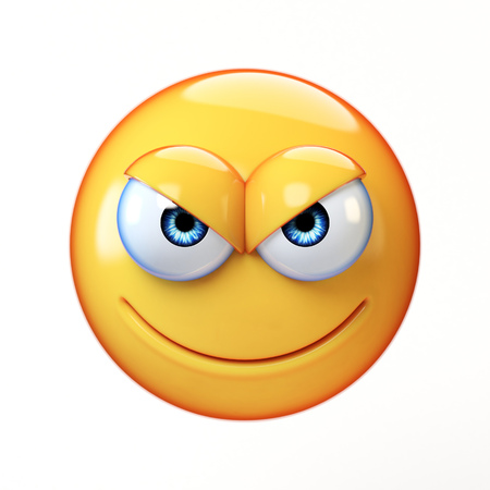 Evil emoji isolated on white background, mischievous emoticon 3d rendering