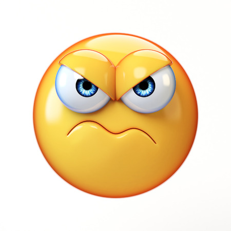 Grumpy emoji isolated on white background, frowned emoticon 3d rendering Stok Fotoğraf