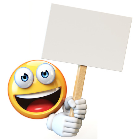 Emoji holding blank board isolated on white background, emoticon advertiser 3d rendering Stock fotó