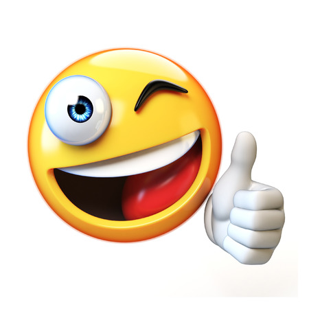 Thumb up emoji isolated on white background, emoticon giving likes 3d rendering