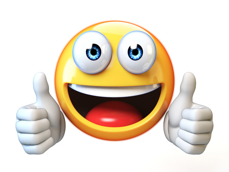 Thumbs up emoji isolated on white background, emoticon giving likes 3d rendering Stockfoto