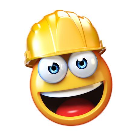 Trabajador de la construcción de Emoji aislado en el fondo blanco, emoticon con sombrero duro 3d representación